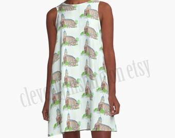A line Dress, University of Dayton Chapel, UD, Dayton, Ohio,Watercolor art, Campus