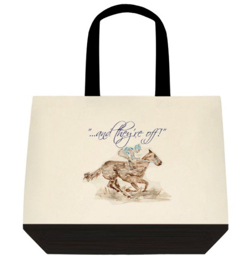 Cotton two tone tote bag watercolor horses derby Kentucky image 0