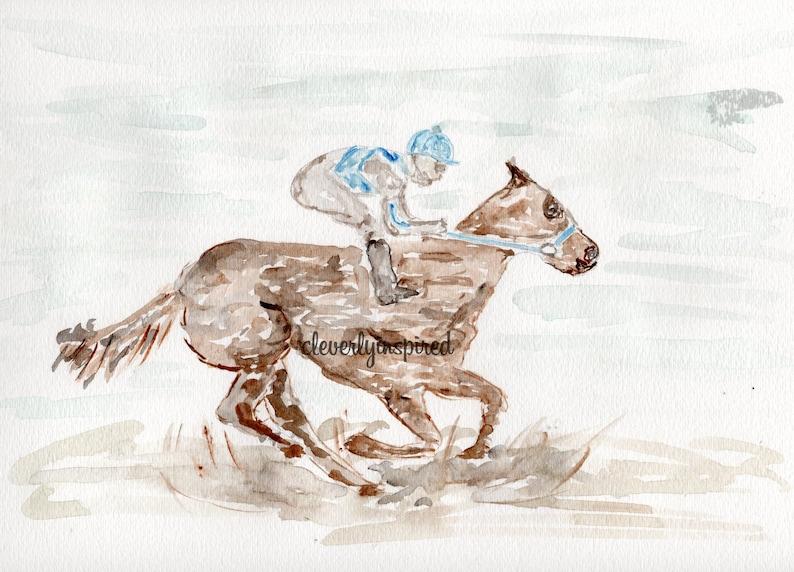 REPRINT: Derby Horse Kentucky Derby Watercolor Churchill image 0