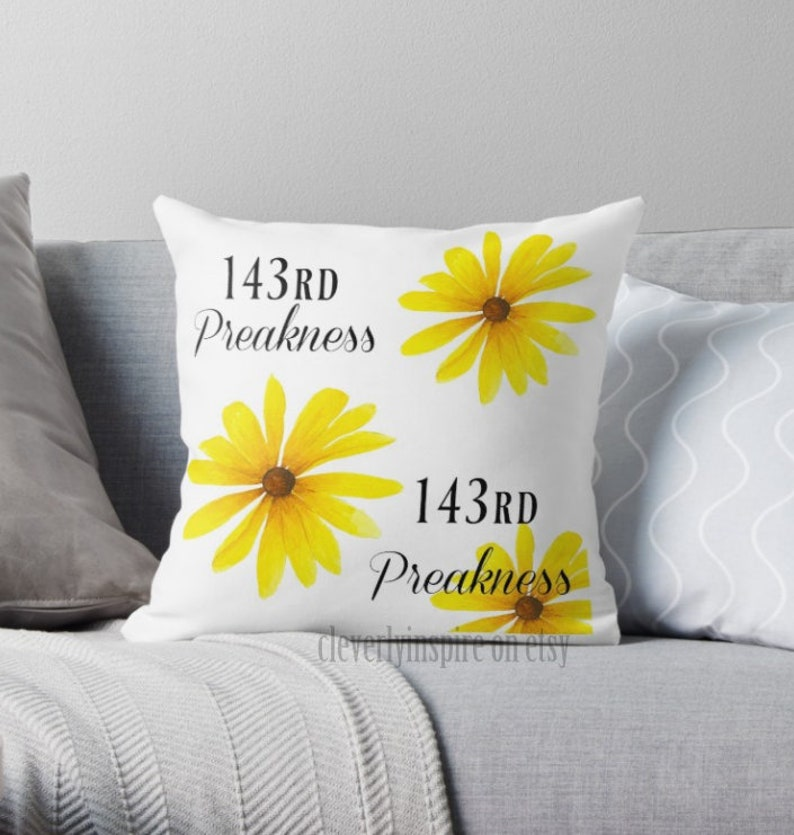 Preakness Pillow 143 2018 BlackEyed Susan Flower yellow image 0