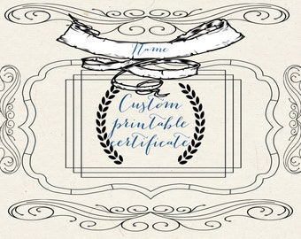 Custom Printable Stock Certificate, Digital, 8x11, gift, award, personalized