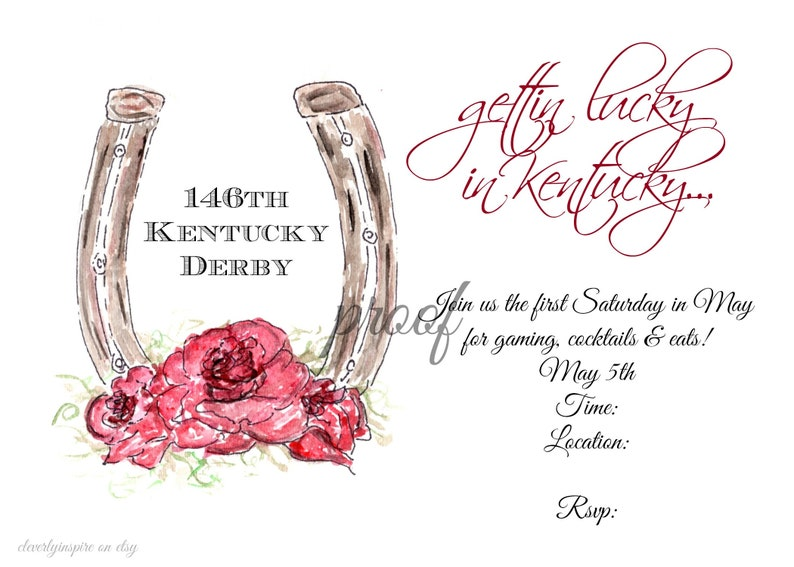 Horse Shoe Gettin Lucky Kentucky Derby Party Invitations image 0