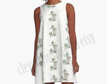 Sample, sz small A line Dress, Mint Julep, Kentucky Derby, Custom made, Watercolor art, Southern