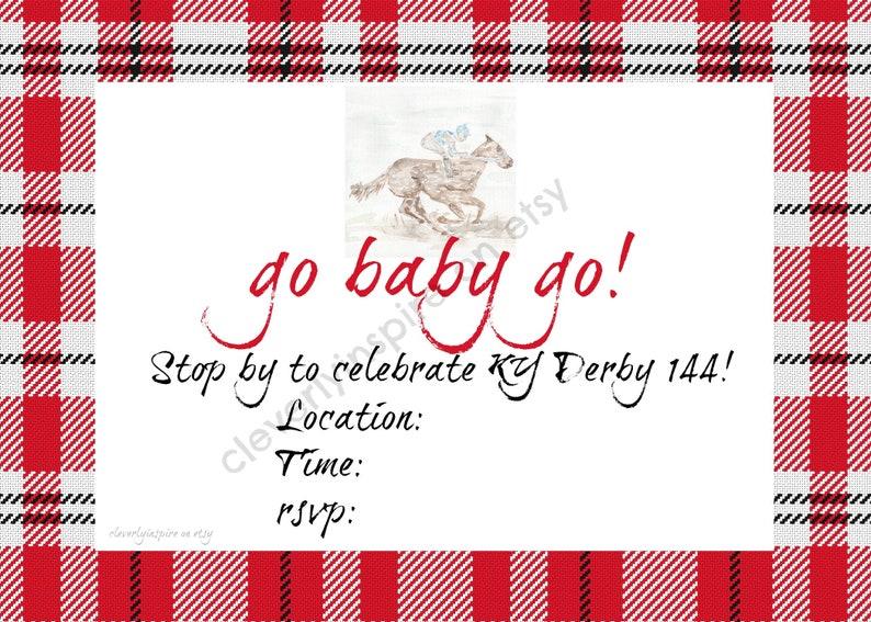 Go Baby Go Invite 4x6 Kentucky Derby Party Invitations image 0