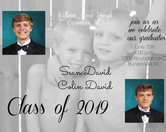 50 5x7 custom invitations, twins, photos, announcement, graduation, class of 2018