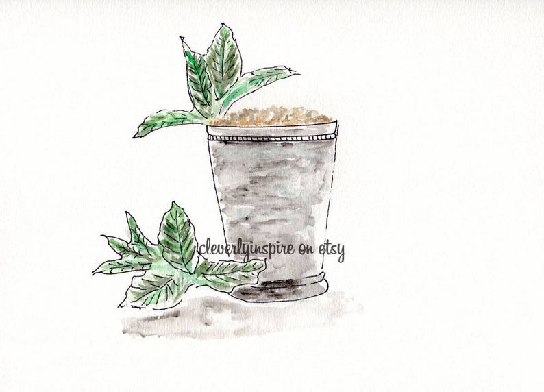 Mint Julep Run for Roses Kentucky Derby Watercolor image 0