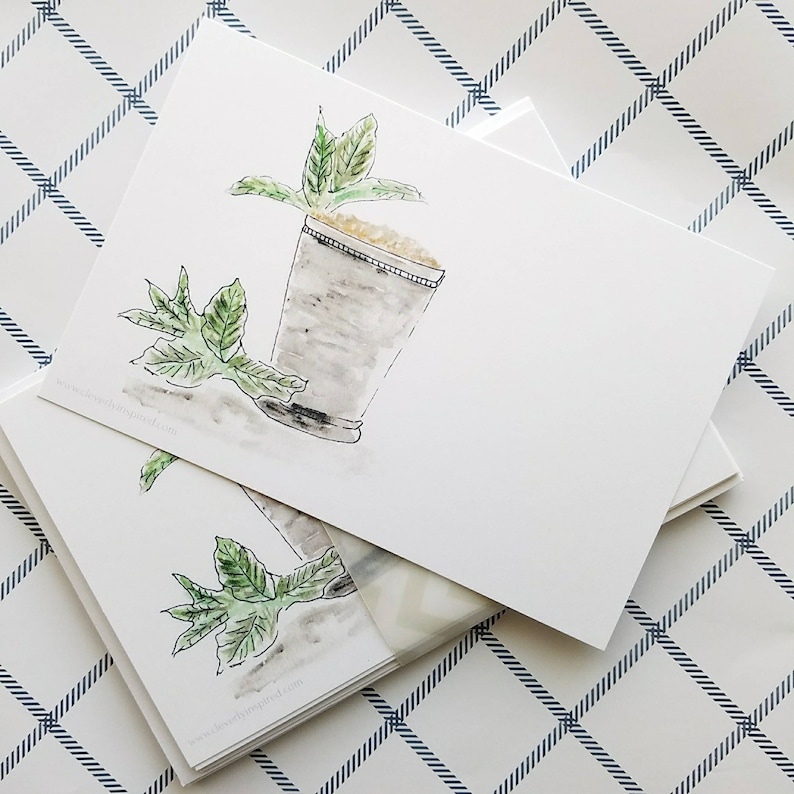 Set of 6 Blank Kentucky Derby Party Invitations mint julep image 0