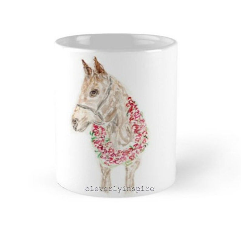 Set of 4 mugs Derby Horse RosesJulep Kentucky Churchill image 0