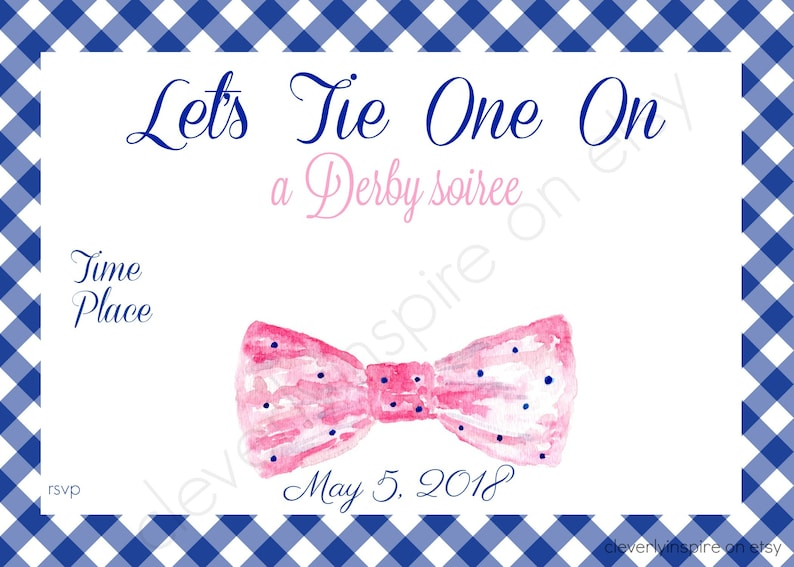 Bow tie Invite  Kentucky Derby Party Invitations Printable image 0