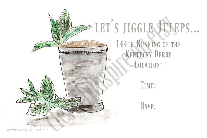 Set of 10 Mint Julep Invite. Kentucky Derby Party Invitations image 0