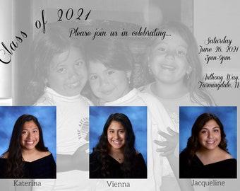 50 5x7 custom invitations, triplets, photos, announcement, graduation, class of 2021, multiples