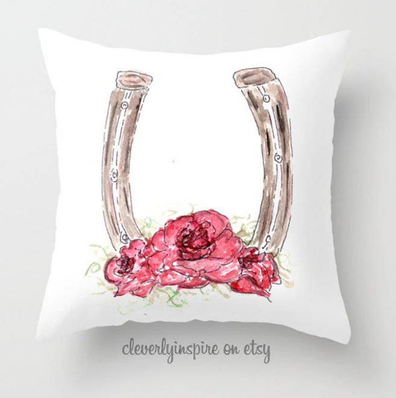 Horseshoe Pillow Roses Run for Roses Kentucky Derby image 0