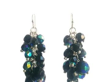 Glamour - Black Earrings - Sparkling Czech Bead Cluster Dangle Earrings - Mishimon Designs