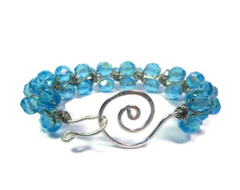 Caribbean Island - Blue Bracelet - Wire Wrapped Czech Glass Bead Bangle with Hammered Swirl Clasp - Aquamarine/Silver - Mishimon Designs