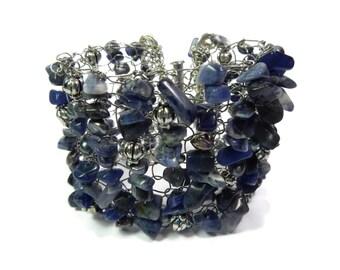 Rainstorm - Blue/Silver Bracelet - Hand Knitted Wire Mesh Bead Cuff - Sodalite Gemstone, Freshwater Pearl, Tibetan Silver - Mishimon Designs