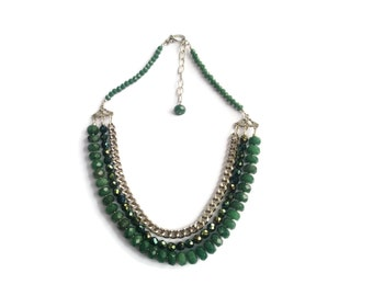 Goddess – Green Statement Necklace - Beaded Gemstone 3-Strand Collar - Agate/Crystal/Chain - Silver/Green – Mishimon Designs