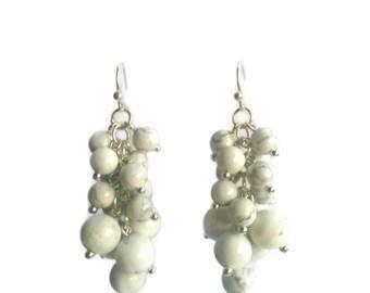 Midsummer - White Earrings - Howlite Gemstone Bead Cluster Dangle Earrings - Mishimon Designs