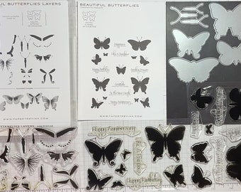 """Papertrey Ink RETIRED """"Beautiful Butterflies"""" stamp & die collection"""