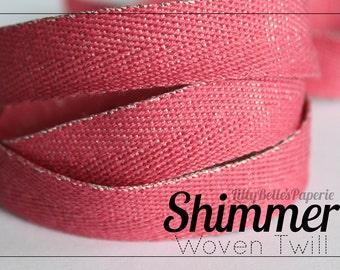 """1/2"""" Glittered Twill Ribbon - Pink"""