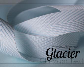 3/4 Chevron Twill Ribbon - Glacier blue