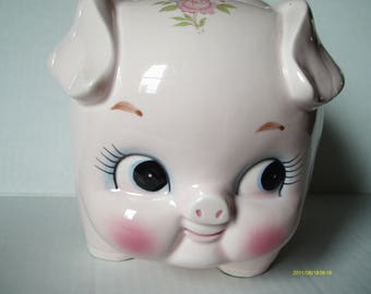Vintage  Lefton Piggy Bank, Pink with Flowers, Big flirty eyes, MIB, 1960s, 7.5 by 5 by 6 inches, Slot is 1.5 inches long