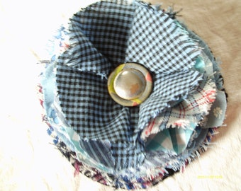 Fabric Flower Pin, Fabric Corsage, Raw edge cotton fabrics in shades of blue, vintage button, Outfit accent, Purse pin, Hat pin