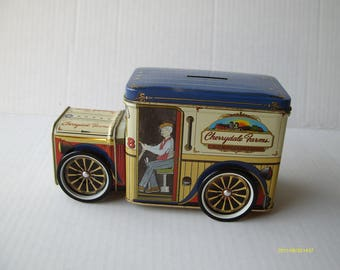 VintageCherrydale Farms  tin delivery truck bank, Blue and Red, Number 8, Moving Wheels, 7 by 4 by 3.5 inches,