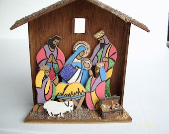 Nativity Creche, Kitschy, Wood, Paint and Glitter, Christmas Decoration, Holy Family and Wise Men, Unusual