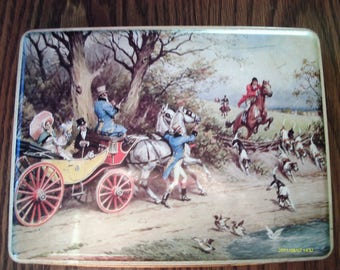 Vintage Toffee Tin, English, Riley's Variety Toffee TIn, 9.5 by 7 by 2 inches, Fox and Hound, Open Carriage,