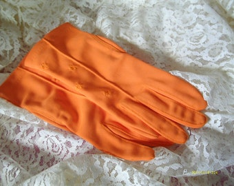 Vintage Nylon Gloves, Stretchies, Women, Orange, One Size, Made in USA