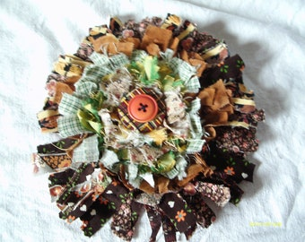 Fabric Corsage, Shabby, Tattered Edges, 6.5 inches in diameter, Country, Vintage fabric and buttons, Floral Corsage, Fabric Flower  Pin