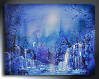 Blue Abstract Landscape Original Painting 16x20 Sherry Arthur