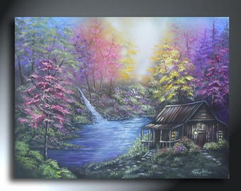 Colorful Cabin Landscape Painting 18 x 24 Original Artwork On Canvas Ready To Hang