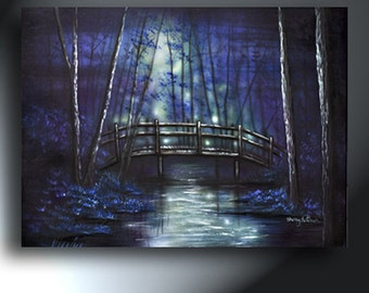 Landscape Bridge In Forest In Evening Painting 18x24 Original Artwork On Canvas Ready To Hang