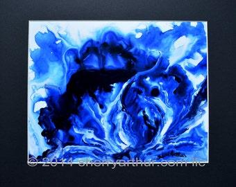 Abstract Blue White Art Print 11 x 14