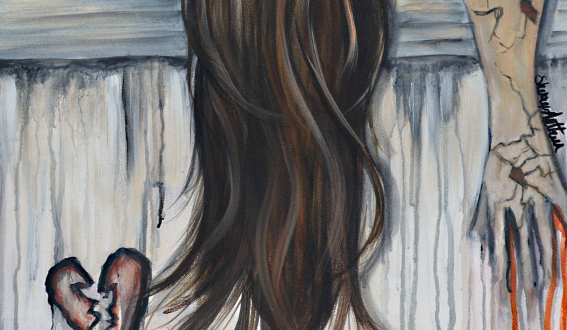 Depressed Woman With Broken Heart Original Painting | Etsy