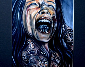Woman Demons Painful Screaming Art Print Matted To 11x14