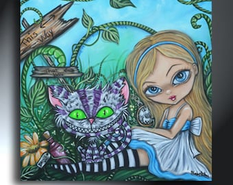 Alice In Wonderland With Cheshire Big Eye Girl Original Artwork Size 25x25 On Canvas Big Eye Girl and Cheshire Cat
