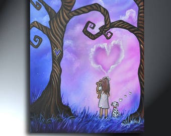 Little Girl With Dalmatian and Teddy-bear Original Artwork Canvas 16 x 20