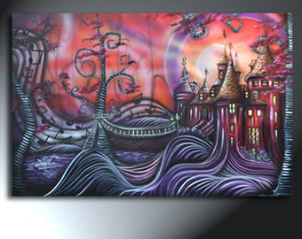 Castle Swirly Trees Painting Music Notes Art On Canvas Original Landscape Art Size 24 x 36
