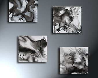 Abstract Black And White Painting Set Of Four Original Artwork 6 x 6 Each Four Small Canvas Set
