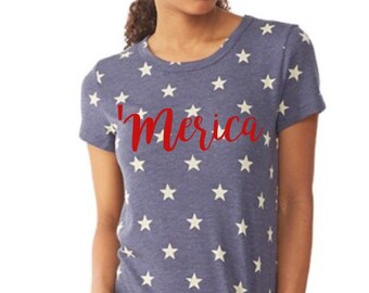 Ready To Ship Merica Tee //Stars Tee // American Flag Clothing Red Merica Tee Stars and Stripes