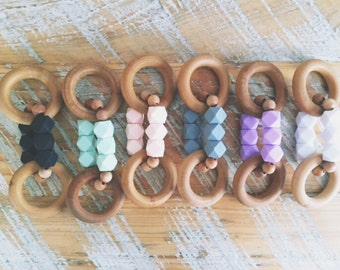 Silicone and Wood Teething Ring for your Modern Baby, Natural Wood Teething Ring // Easy Grip Ring