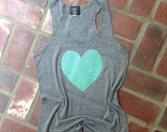 Teal Glitter Heart Tank Top on Heather Gray Tank // Choose your Heart color