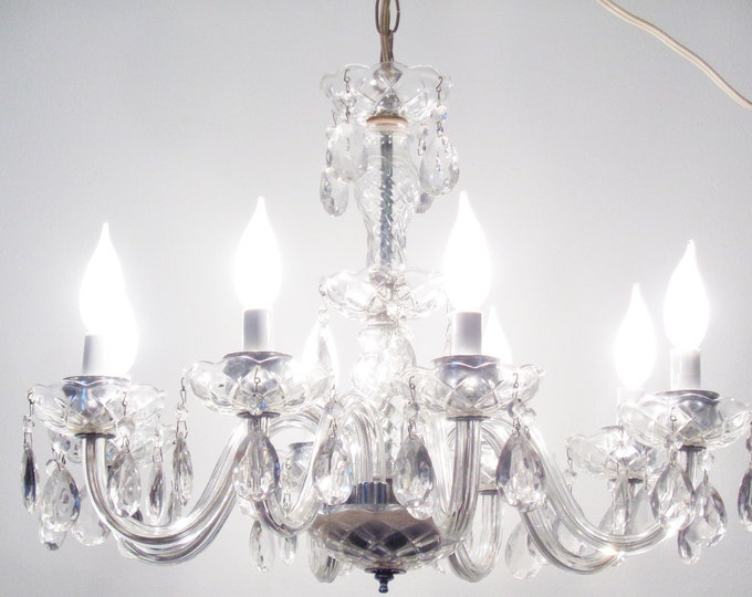 Featured listing image: Classic Vintage Ornate  Crystal 8 Armed Chandelier with Crystal Prisms