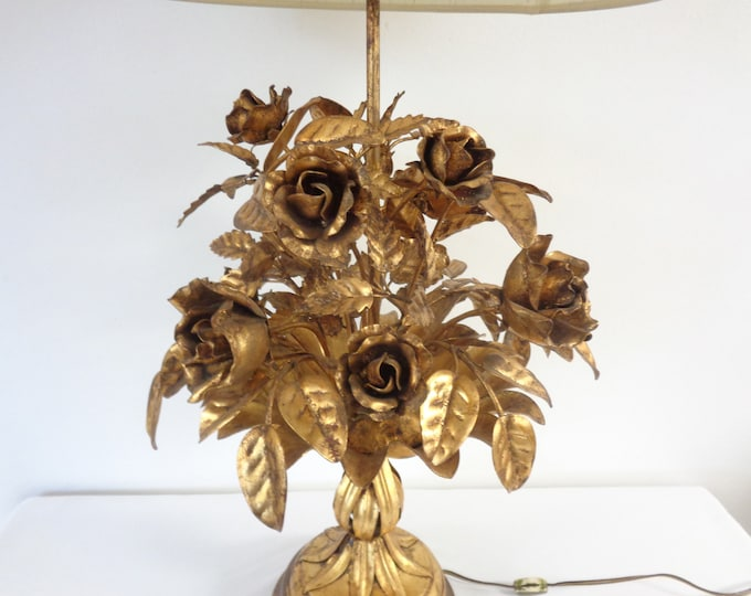 Featured listing image: Vintage Italian Tole Table Lamp - Gilt Gold Metal Roses Hollywood Regency