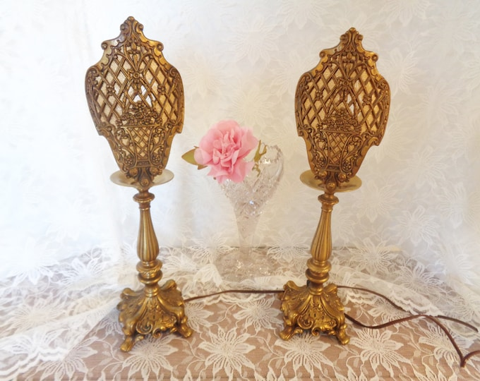 Featured listing image: Vintage Ornate Hollywood Baroque / Art Nouveau Style Table Lamps - Unusual Loevsky & Loevsky
