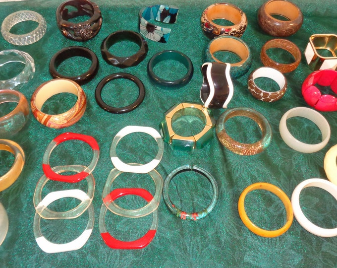 Featured listing image: 34 Vintage Lucite & Bakelite Bangle Bracelets - Various Shapes and Colors