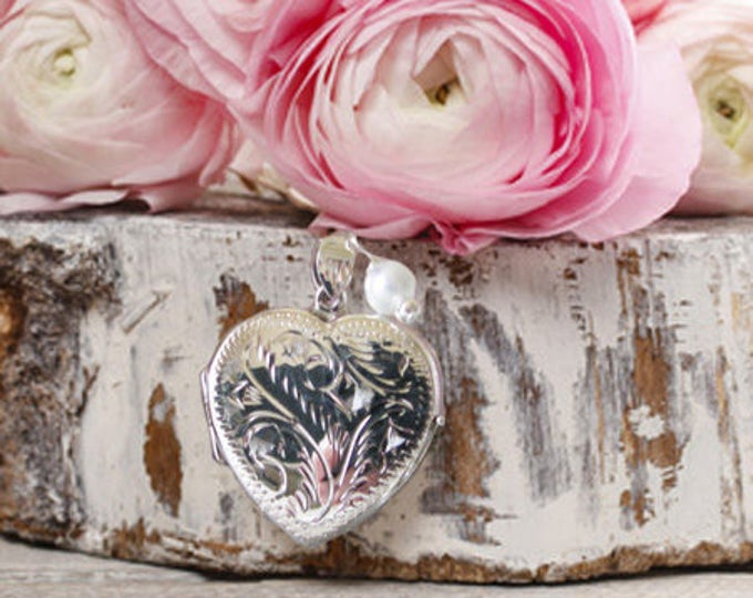 Silver Heart Brides Bouquet Locket