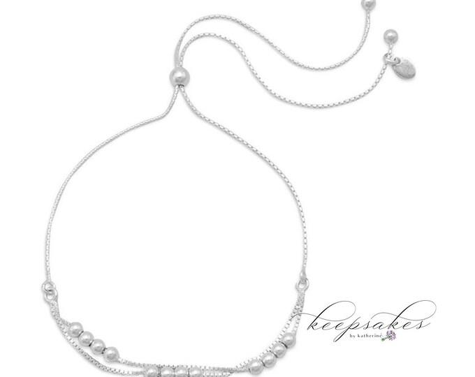 Sparkling Sterling Silver Beaded Bracelet